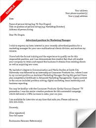 marketing manager cover letter sample marketing manager cover letters