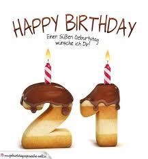 Happy Birthday In Keksschrift Zum 21 Geburtstag