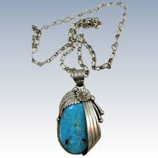 vintage extra large sleeping beauty turquoise pendant on