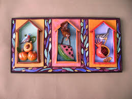 custom made bird x three 3 d ceramic tile and mosaic wall hanging