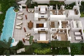 beach house floor plans. Beach Houses Barbados - 3D Floor Plan 4 Bedroom House Plans