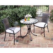 best 3 piece black wrought iron wicker bistro sets home depot with cushion