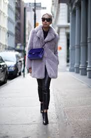 fur coat with leather pants fur coat with leather trousers