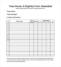 Sample Sports Roster Template 7 Free Documents Download