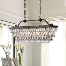 4 light antique bronze rectangular crystal chandelier dining room fixture
