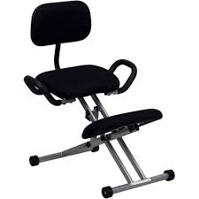 ergonomic kneeling office chairs. Ergonomic Kneeling Chair In Black Fabric With Back And Handles Office Chairs