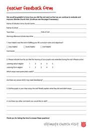 teacher feedback form ultimate church visit teacher feedback form by the salvation army uk