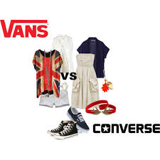 converse vs vans. a fashion look from august 2012 featuring uniqlo, button up vest and distressed shorts. converse vs vans t