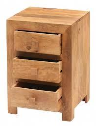 3 drawer bedside table light mango wood