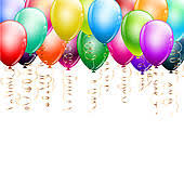 birthday balloons border horizontal. Beautiful Balloons Weather Border With Clouds Colorful Balloons As Top On White With Birthday Balloons Border Horizontal T