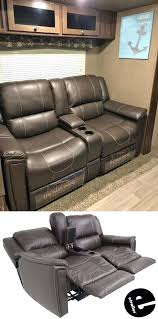 dual reclining sofa w center console majestic chocolate and camper remodeling with