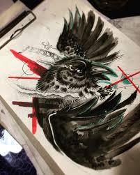сделать татуировку ворон в городе москва по эскизу мастера иван