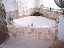 travertine glass tile garden tub master
