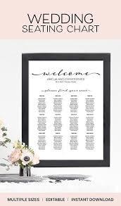 Online Wedding Seating Chart Template Editable Wedding Seating Chart Template Instant Download