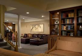 Decorations:Cool Media Room Basement Design Idea Elegant Living Space In  Basement With Cozy Brown