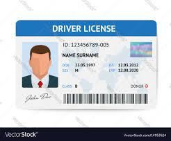 Man Template Plastic Driver Image Flat Card Id License Vector