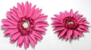 Daisy Paper Flower Gerbera Daisy Paper Flower Diy Tutorial Paper Flowers Easy For Children For Kids For Beginners
