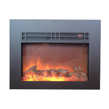 y decor true flame 26 in electric fireplace insert in sleek black with surround