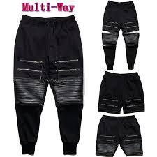 Multi Way Pants! Men's Casual Jogger PU Leather Quilted Zipper ... & Multi Way Pants! Men's Casual Jogger PU Leather Quilted Zipper Sportwear  Pants Slacks Trousers Ninja Sweatpants-in Harem Pants from Men's Clothing  ... Adamdwight.com