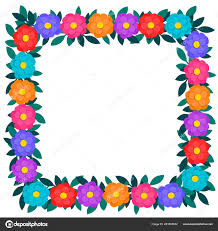 Colorful Paper Cut Out Flowers And Green Leaves Floral