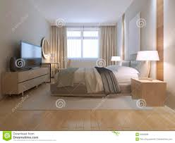 Light Brown And White Bedroom Contemporary Bedroom Design Stock Illustration