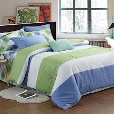 green white and blue rugby stripe print simply modern chic soft full queen size bedding sets for tween boys kids