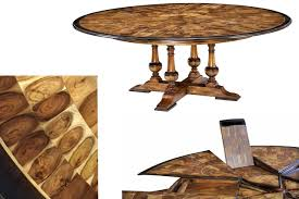 expandable round walnut inlaid dining room table with ebony finished edge