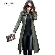 Fitaylor New Women Long Leather Jacket <b>Plus Size</b> 5XL Ladies ...