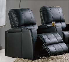 C  Magnolia Seats Single Home Theater Recliner In Black Leather