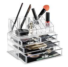 dels about clear acrylic makeup drawers organizer cosmetic display storage brush holder new
