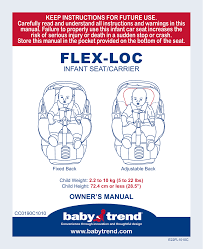 babytrend cc21095 flex loc infant car seat sonic user manual 27 pages
