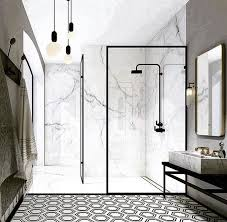 eclectic marble shower without door