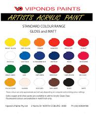 Folk Art Paint Chart Artists Paints