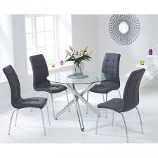 Image Wildwoodsta Trespasaloncom Oddess Modern Round Glass Dining Table With Gray Chairs