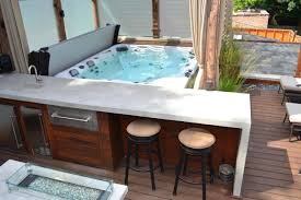 Outdoor Summer Kitchen Hot Tub On Deck And Outdoor Summer Kitchen With Bar Space