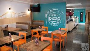 Interior Design: Alluring Pizza Restaurant Decorating Ideas With Blue  Painted Wall Featuring Oak Dining Table