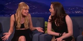 kat dennings bust size beth behrs accidentally touched kat dennings breast and conan went