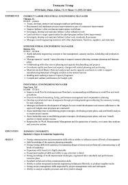 Industrial Engineer Resume Industrial Engineering Manager Resume Samples Velvet Jobs