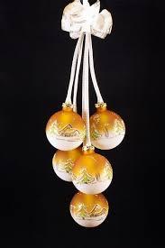 5tlg Kugelgehänge Mit Beleuchtung Waldhaus In Orange Bedruckt Und Handbemalt