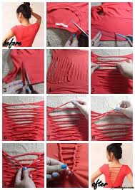 t shirt restyling idea diy no sew