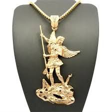 st michael leader gold pendant chain find at