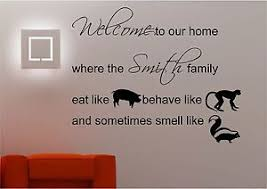 image is loading personalised family welcome wall art sticker lounge kitchen  on wall art stickers quotes ebay with personalised family welcome wall art sticker lounge kitchen quote