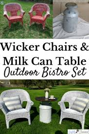 before and after transformation of wicker chairilk can table
