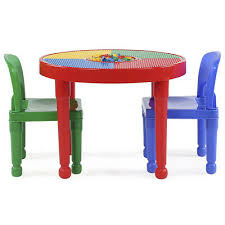 round plastic construction child table 2 chairs play kids dining building blocks