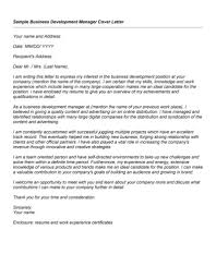 Sample Cover Letter For Business Development Role