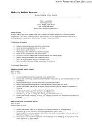 Sample Makeup Artist Resume Best Of Artistic Resume Example Fastlunchrockco