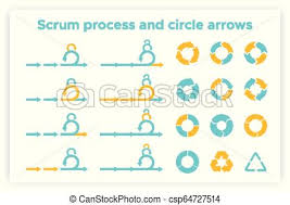 Scrum Info Graphic Diagram Element Vector Set