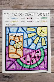 These sight words coloring pages have a fun rapunzel theme so preschoolers, kindergartners, and grade 1 students can improve reading these common words while watching tangled, tower, flynn. Free Summer Color By Sight Word Coloring Pages Sara J Creations