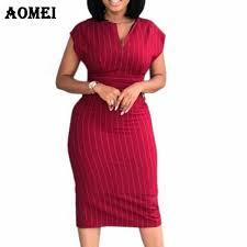Dress Women Slim Elegant <b>Striped Bodycon</b> Office Ladies Classy ...