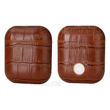 crocodile skin genuine leather case for apple airpods with charging case 2016 brown